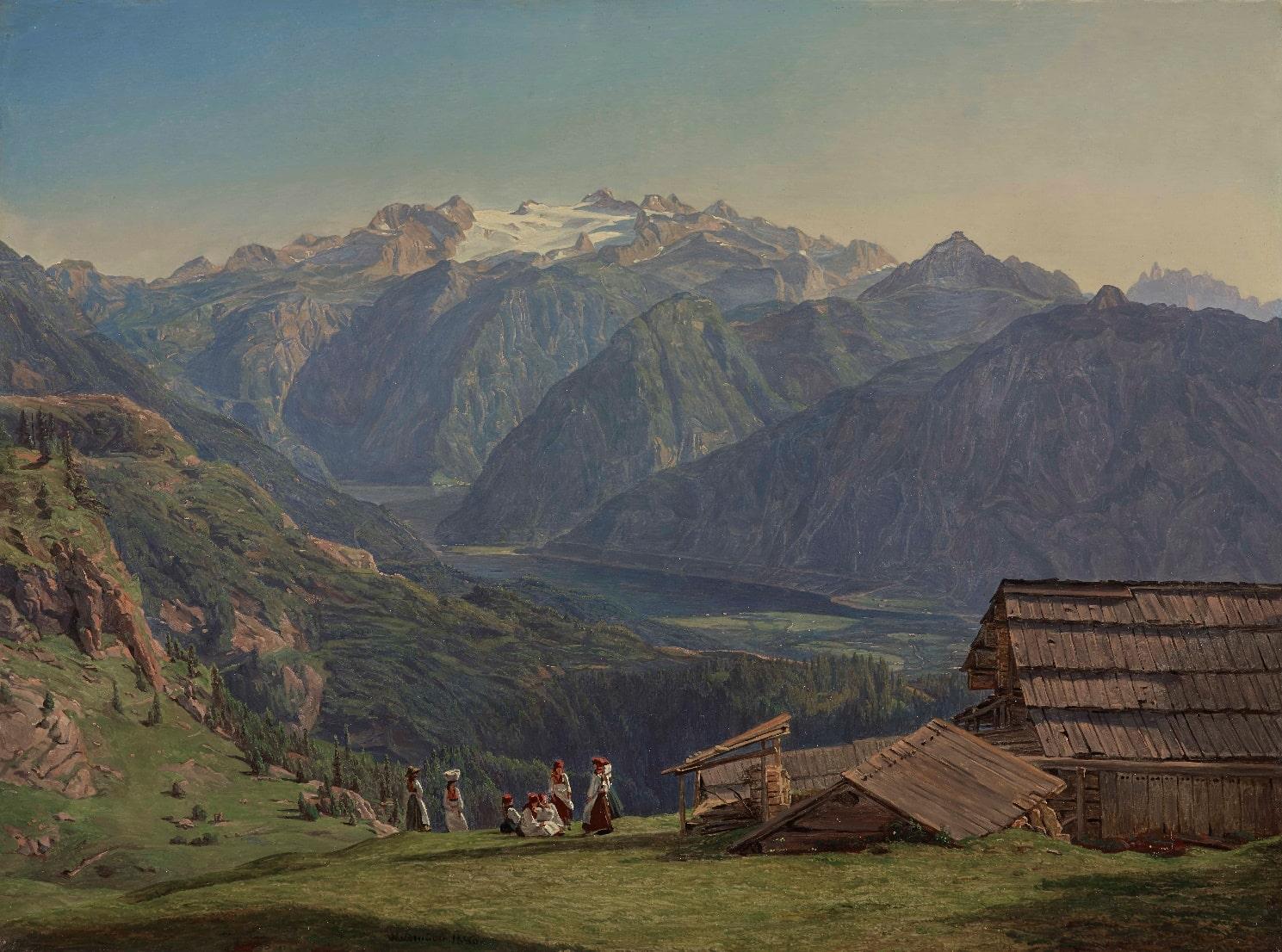 イシュル近くのヒュッテンエック高原からのハルシュタット湖の眺望